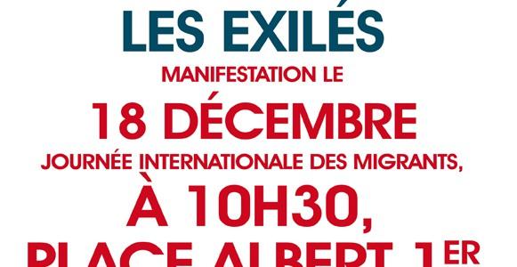 Soutenons les exilés. Manifestation le 18 décembre. Journée internationale des migrants.